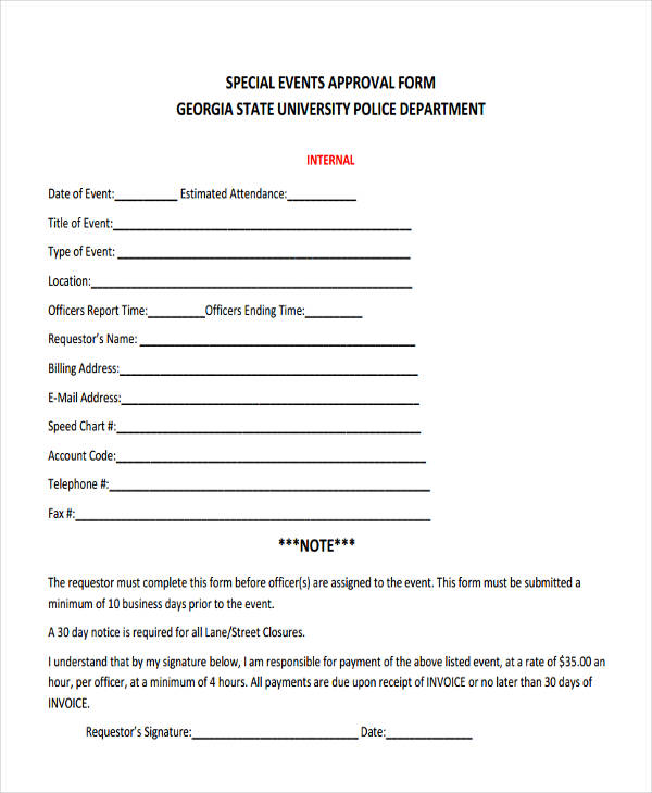 special event approval form