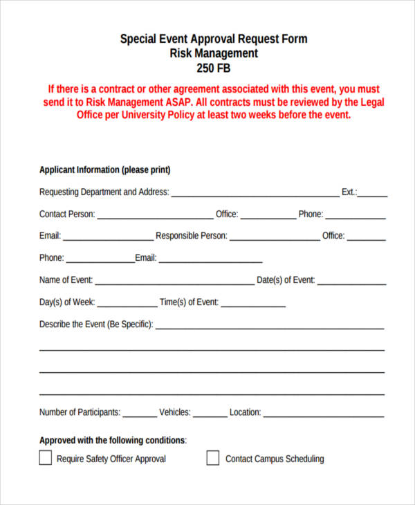 special event approval request form