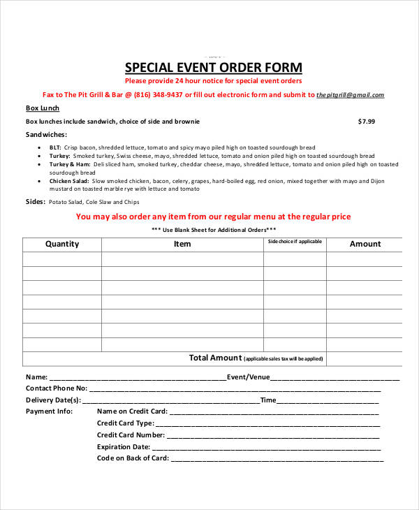 special event order form2