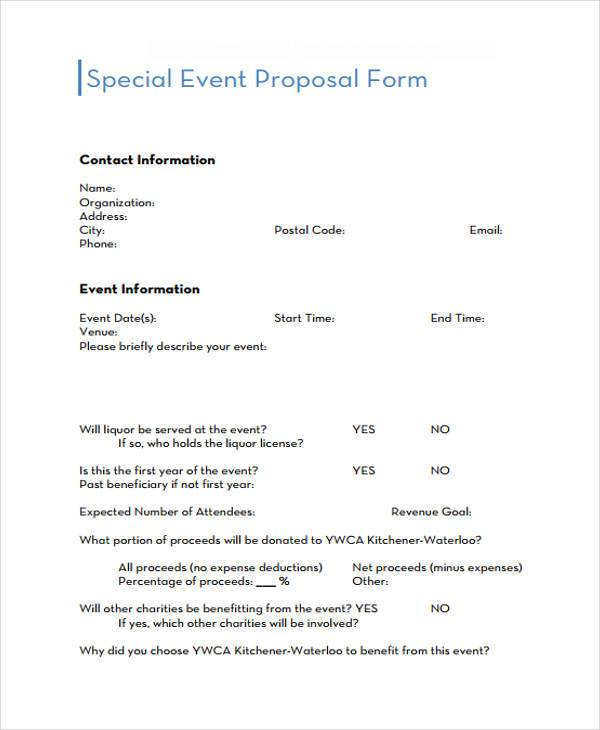 special event proposal form sample