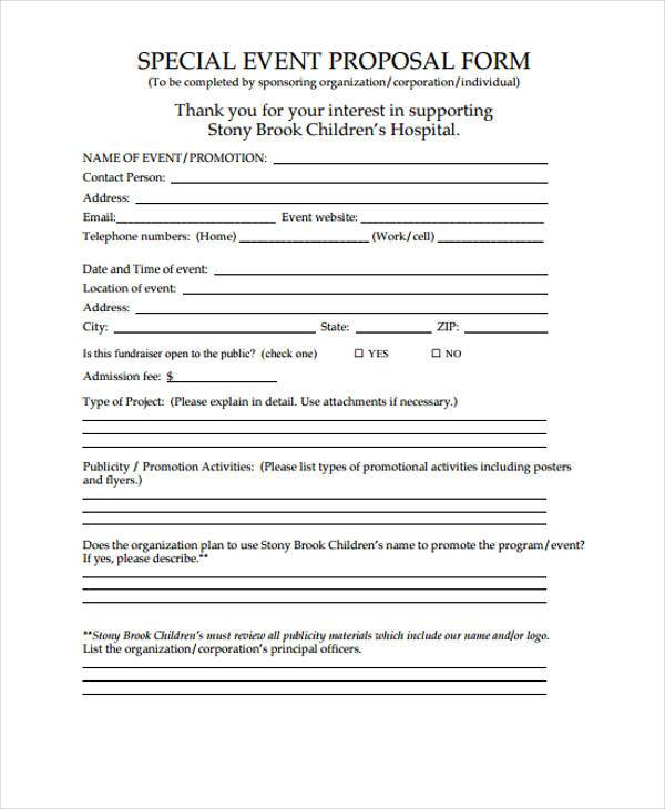 special event proposal form