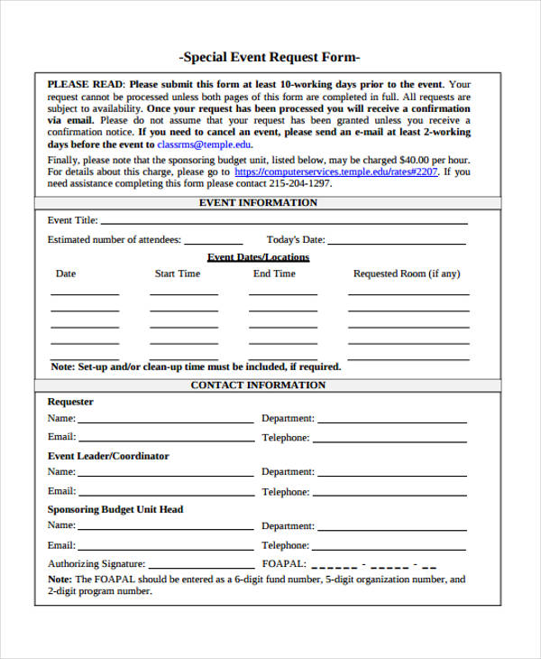special event request form1
