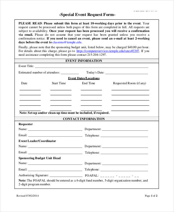 special event request form3