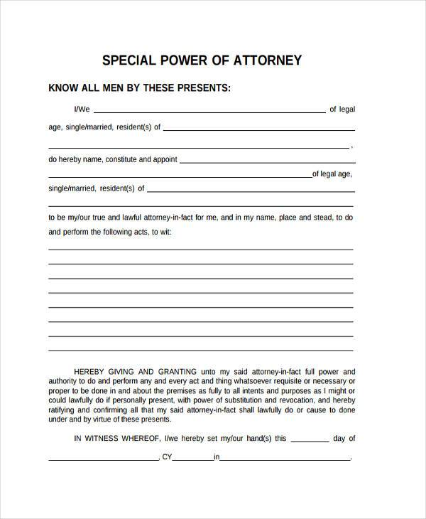 special power of attorney sample form