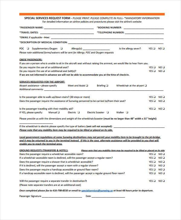 special service request form