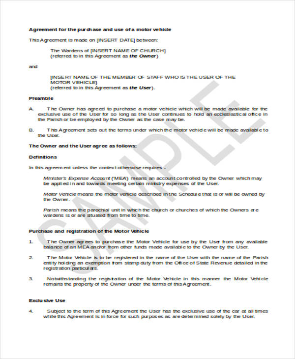 specific vehicle purchase agreement form