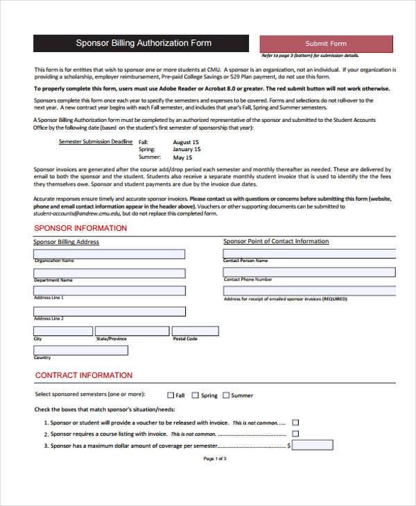 sponsor billing authorization form