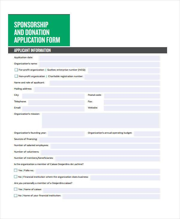 sponsorship and donation application form