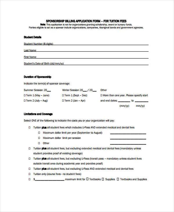 sponsorship billing application form