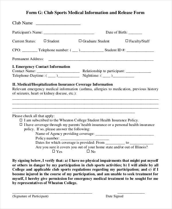 sports medical information release form