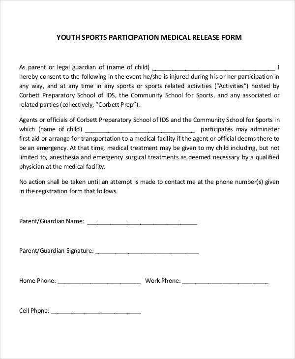Release of morte form for Participation waiver template