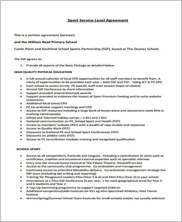 sports service level agreement form1