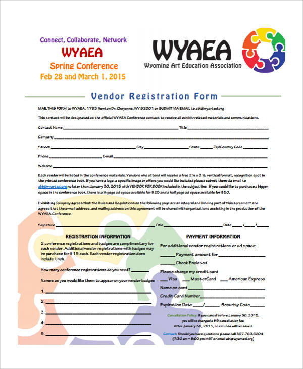 spring conference vendor registration form1