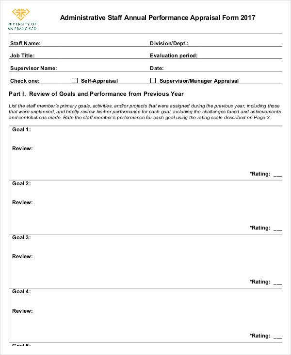 Annual Performance Appraisal Form  Free Sample Example