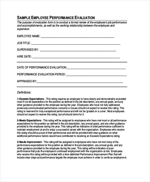 staff employee evaluation form