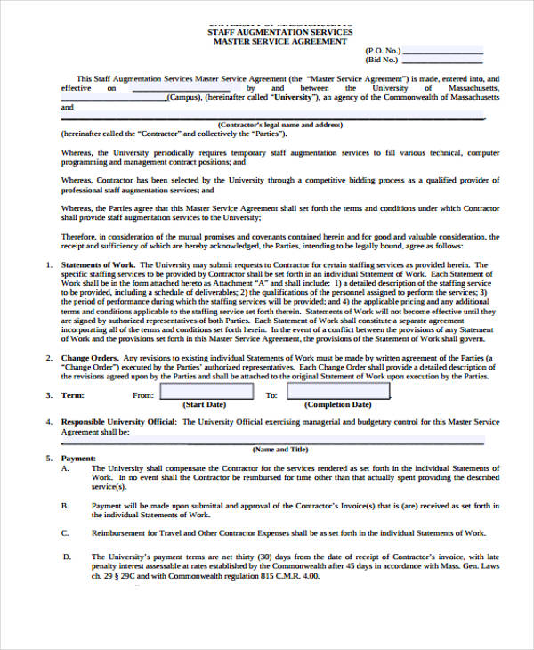 Service Agreement Form – Sample Master Service Agreement
