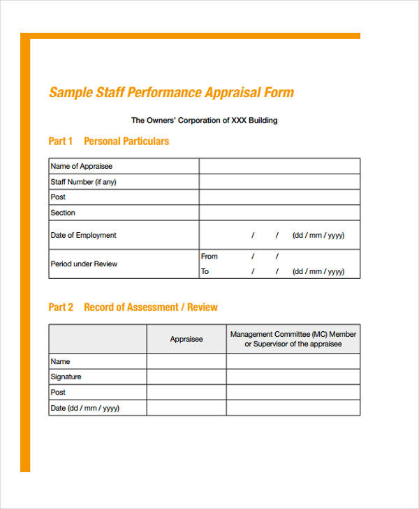 staff performance appraisal form1