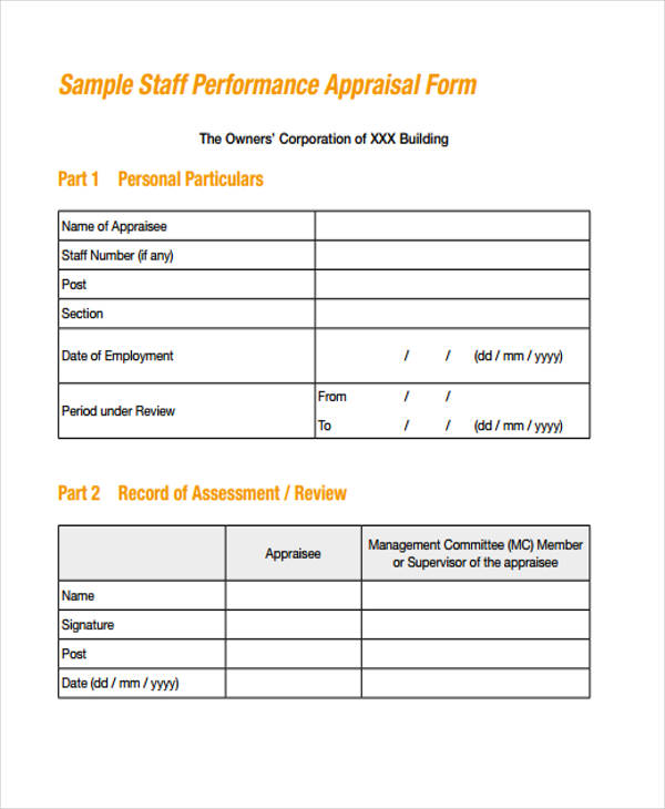 Staff Performance Appraisal Form Sample  Performance Appraisal Forms Samples