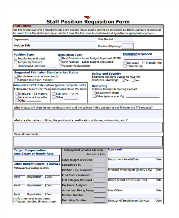 staff position requisition form1
