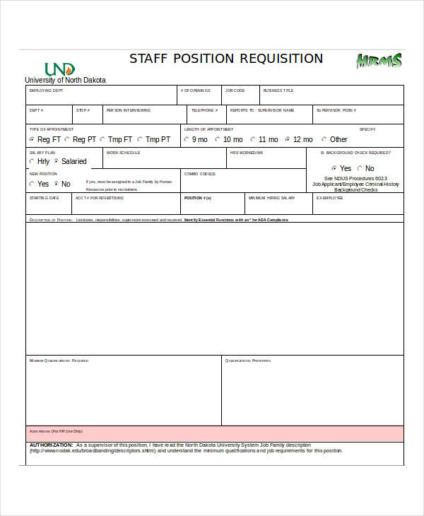 Staff Position Requisition Form