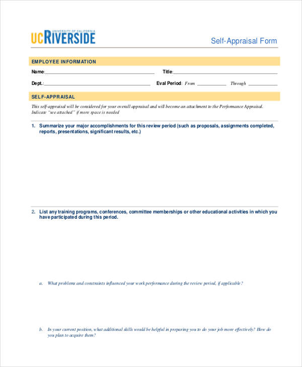 Sample Self Appraisal Form - 11+ Free Documents In Word, Pdf