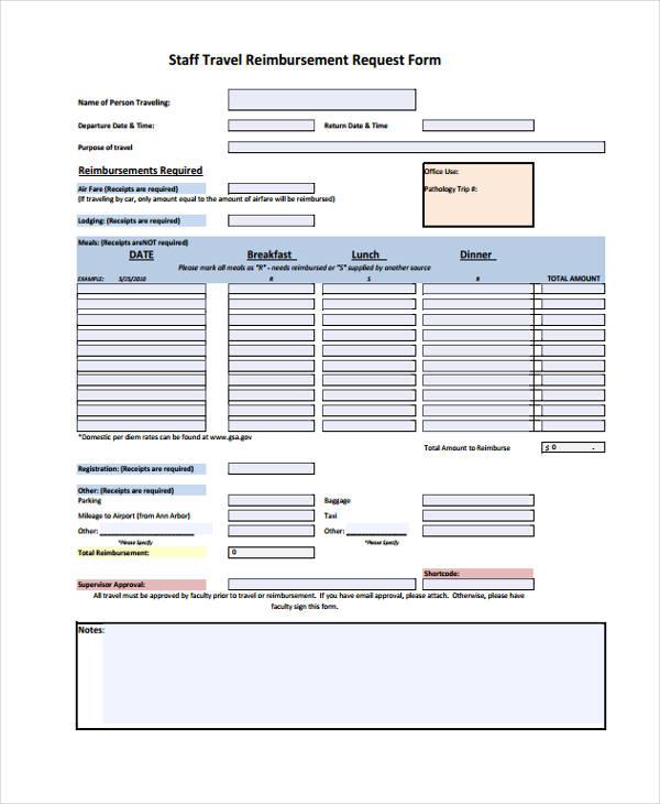 staff travel reimbursement request form