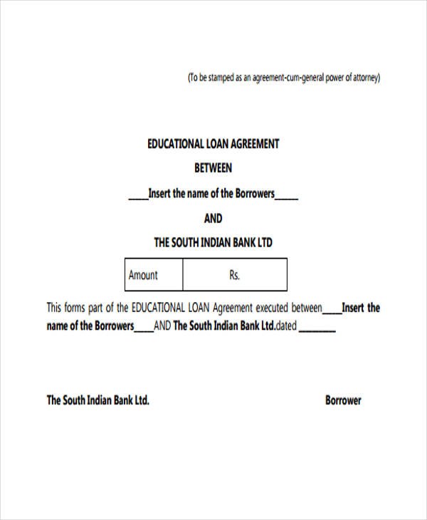 standard bank loan agreement