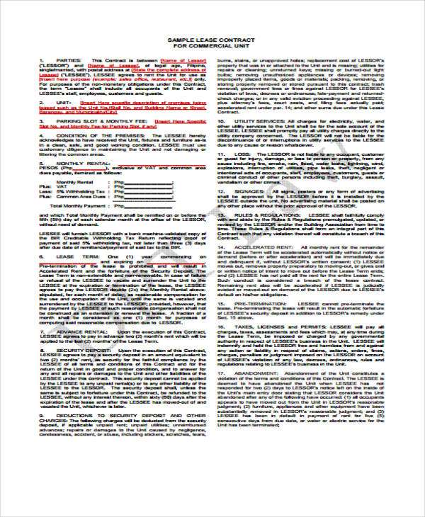 standard business lease agreement form