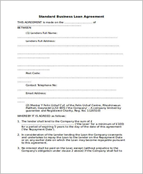 Free loan agreement form standard business loan agreement2 accmission Choice Image