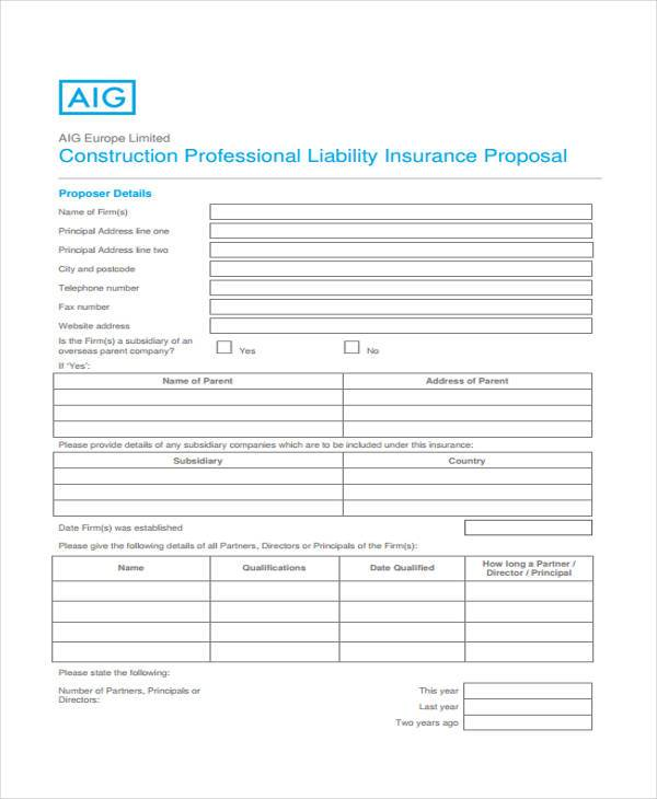 standard construction proposal form