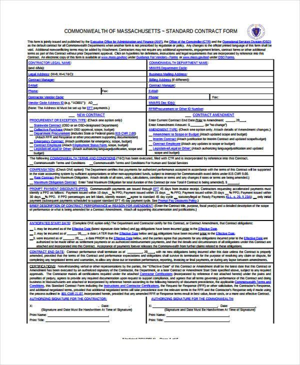 standard contract form