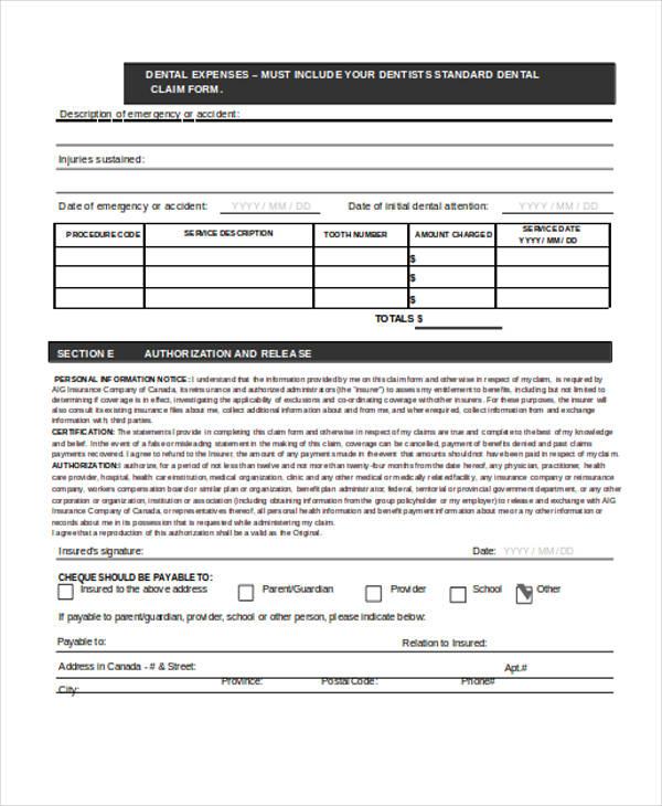 standard dental claim form1