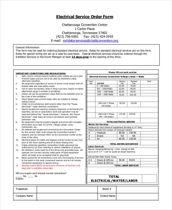 35 service order forms in pdf for Standard electrical service sizes