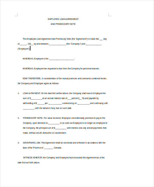 standard employee loan agreement2