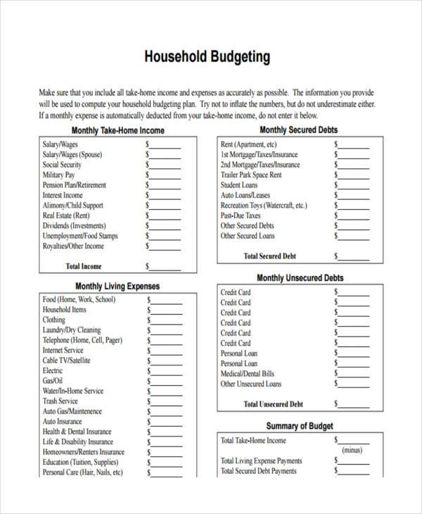 Sample Household Budget Sample Household Budget Worksheet Household