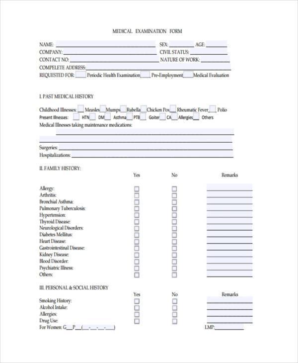 standard medical examination form