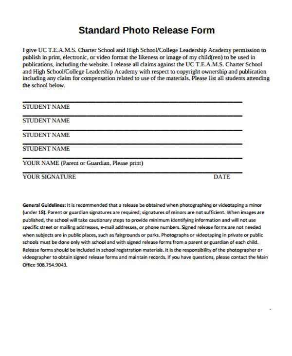 Standard photo release form template for Standard model release form template