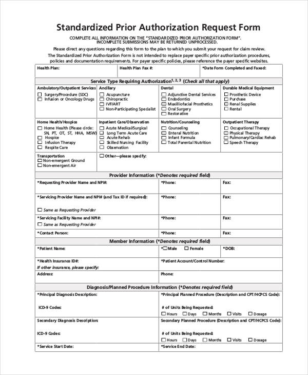 Prior Authorization Form Samples  Free Samples Examples Format
