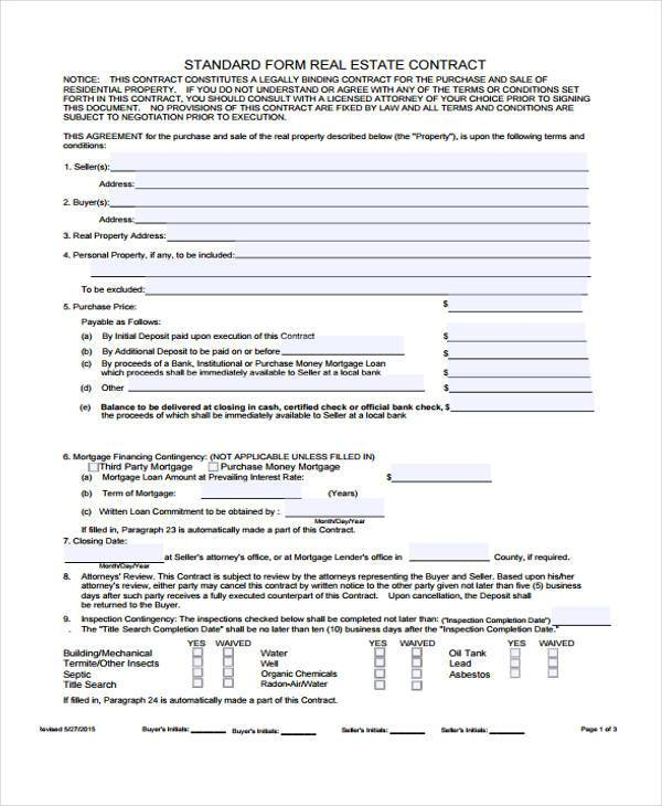 standard real estate contract form
