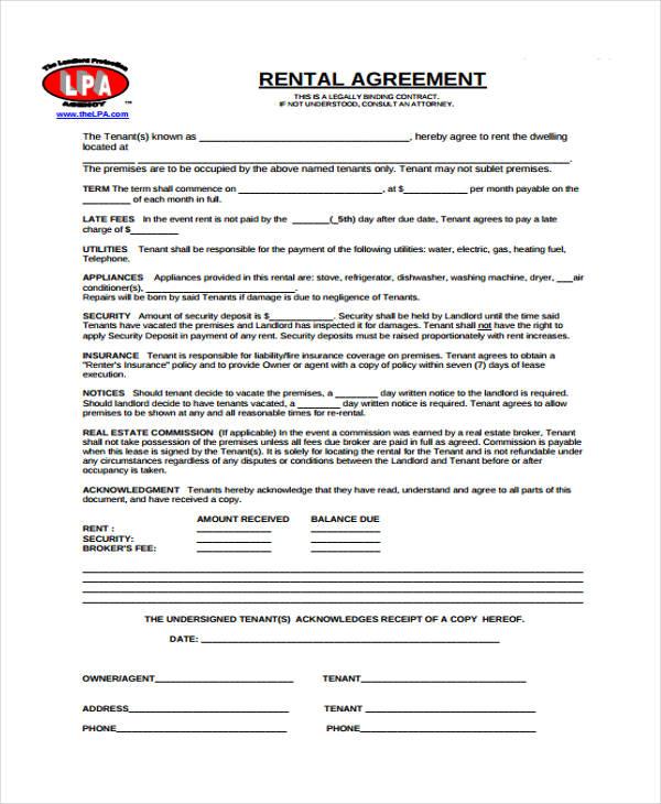 standard rental agreement form2