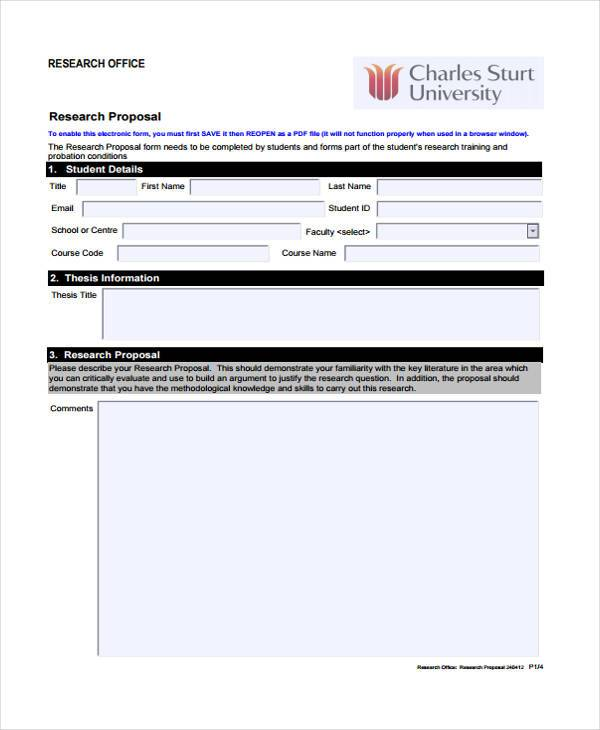 standard research proposal form