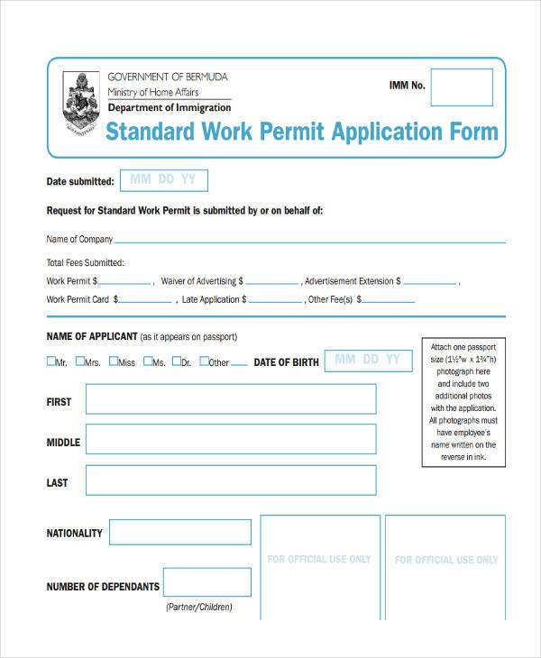 standard work permit application form