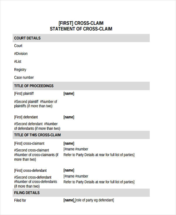 statement of cross claim form