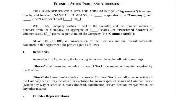 11 Stock Purchase Agreement Form Samples Free Sample Example