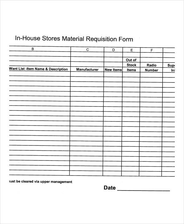 stores material requisition form