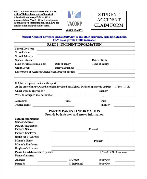 student accident claim form