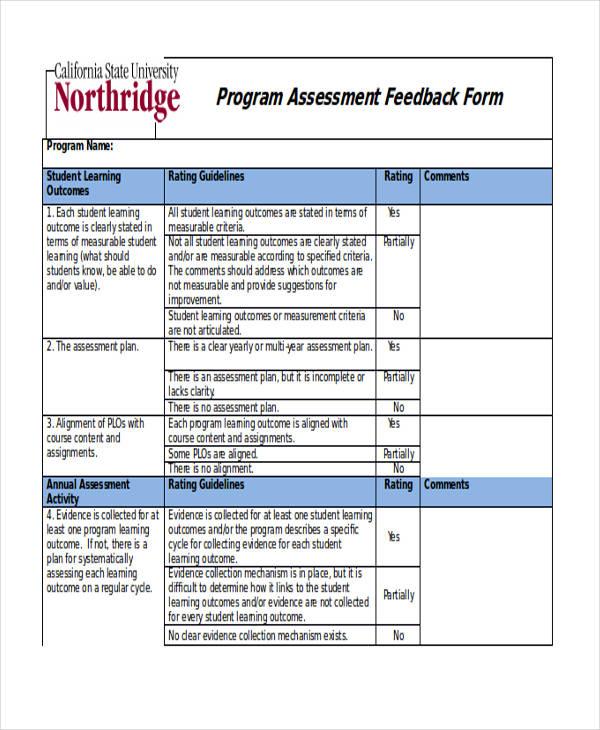 student assessment feedback form sample1