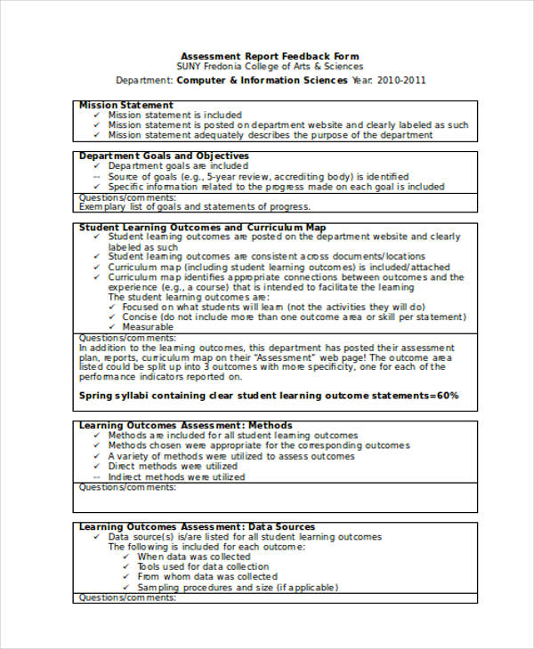 student assessment report feedback form