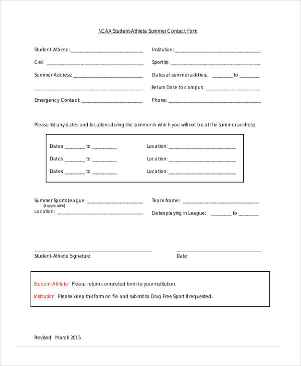 student athlete summer contact form