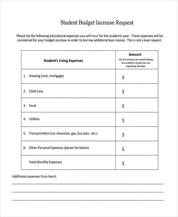 Free Budget Forms – Budget Request Form